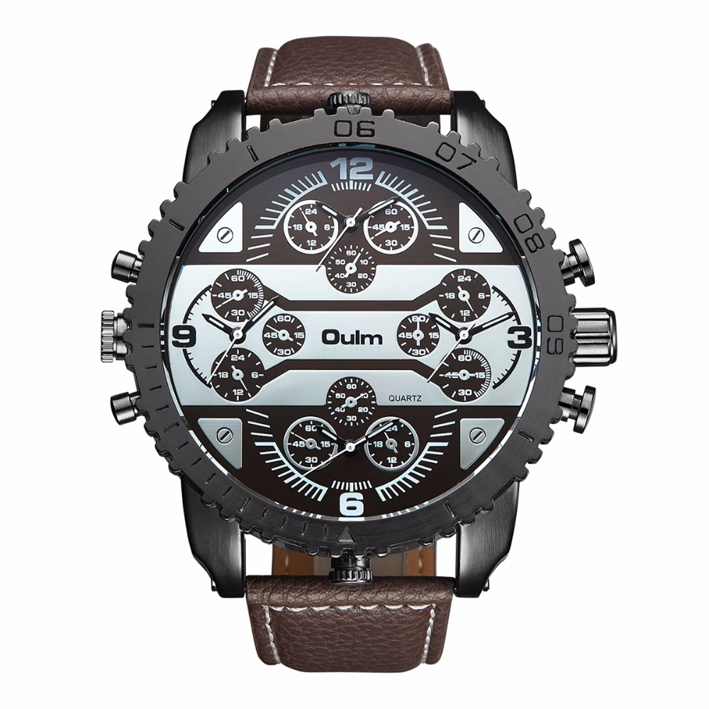 Man watch Fashion 4 time zone leather strap watch OULM 3233brand luxury  wristwatches man