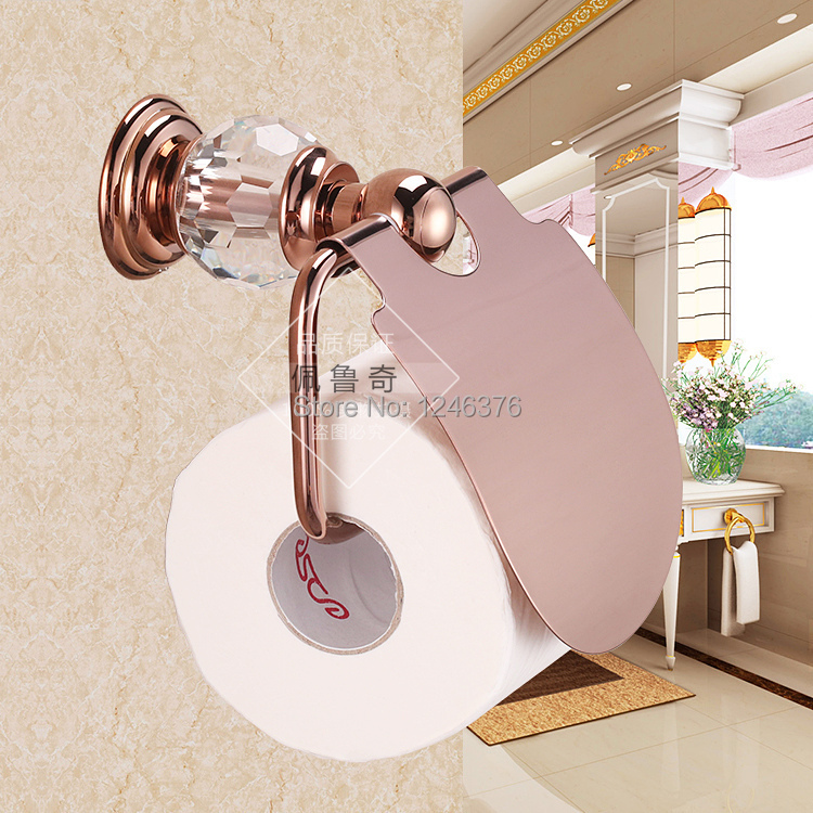 Bathroom accessories luxury crystal brass rose gold paper holder roll holder toilet tissue box - Gold toilet paper holder stand ...