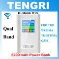 2017 Portátil 3G 4G Wifi Router com 5200 mAh Power Bank Global LTE FDD TDD Móvel Hospot Qual band Dual Slot Para Cartão SIM RJ45 porta