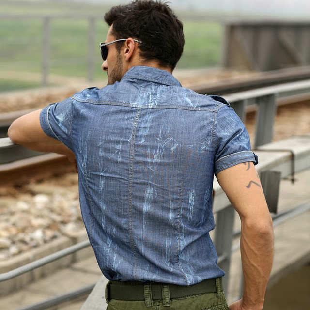 9b0b7661c3e Online Shop military style mens shirts Combat Men s Pigment Dyed Summer  Short Sleeve Button Down Shirt M-3XL  9A227