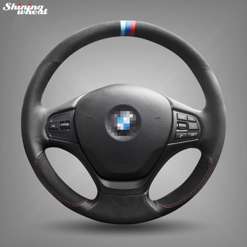 Блестящие пшеницы Вручную прошитый черный кожаный замши рулевого колеса автомобиля Обложка для BMW F30 316i 320i 328i