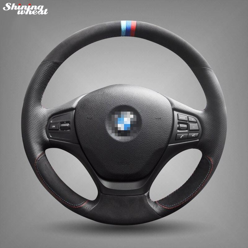 Brillant blé cousu Main Noir En Cuir Daim Couverture De Volant de Voiture pour BMW F30 316i 320i 328i
