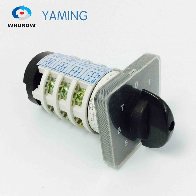 Rotary switch YMZ12-20/4 changeover cam combination switch 4 poles 8 positions 14 terminals 20A Ui 690V sliver point contactsRotary switch YMZ12-20/4 changeover cam combination switch 4 poles 8 positions 14 terminals 20A Ui 690V sliver point contacts