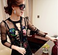 Female 2013 Charming Spring Flowers Print O-Neck Lace Patchwork Shirt Body Women Silk Blouse
