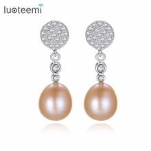 LUOTEEMI Drop Earrings Sterling Silver Freshwater Natural Pearl Popular Prevalent Fashionable Brincos For Women Wedding Jewelry