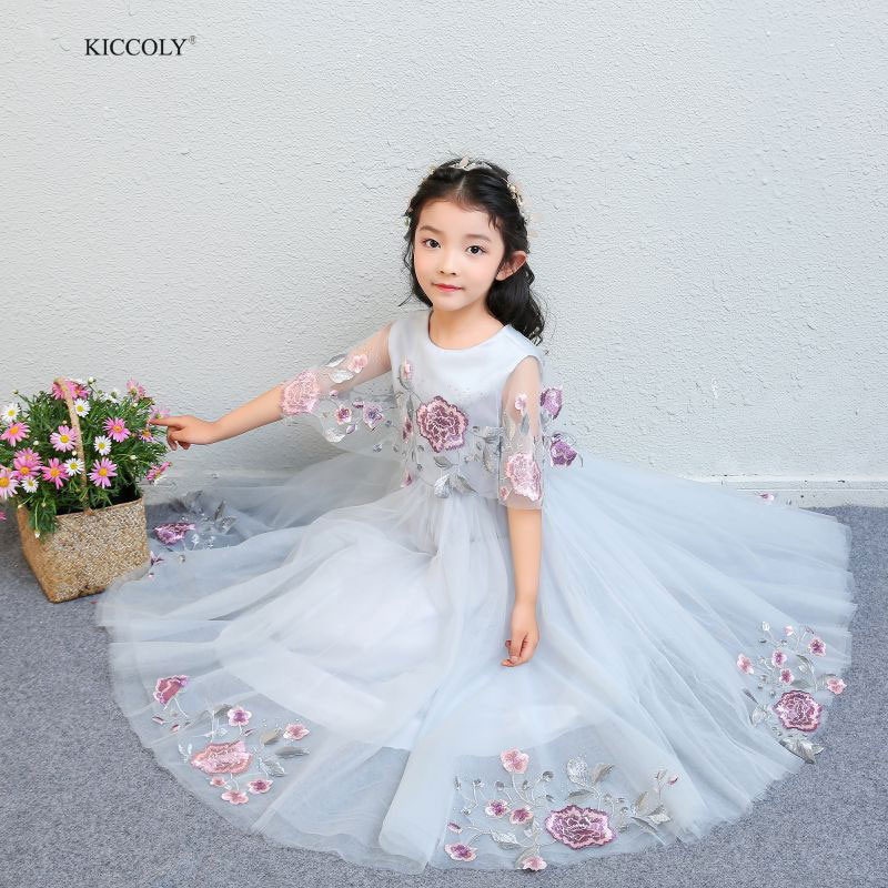 KICCOLY Elegant Kids Girls Princess Dresses Pageant Toddler Kids Baby Girl Shawl Flower Tulle First Communion Ball Gown Dresses elegant luxury girls pageant dresses 2018 pearls girls communion dress ball gown kids formal wear flower girls dresses