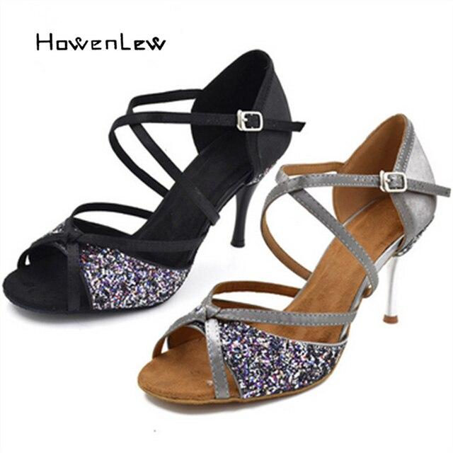 01af897894 Sapatos de Salto alto Brilho de Cetim Sapato De Dança De Salão Latina Salsa  Tango Sapatos