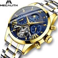 MEGALITH Роскошные мужские часы спортивные/Автоматические/механические/Mliltary часы водонепроницаемые мужские часы с датой Лидирующий бренд Relogio...