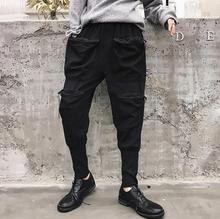Spring personality trousers mens pants Three-dimensional large pocket harem pant feet fashion street novelty black