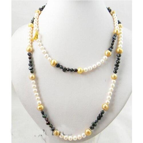 39 pouces Long bijoux en perles, Champagne blanc noir Baroque rond collier de perles d'eau douce, 3-9mm mêle taille collier de perles