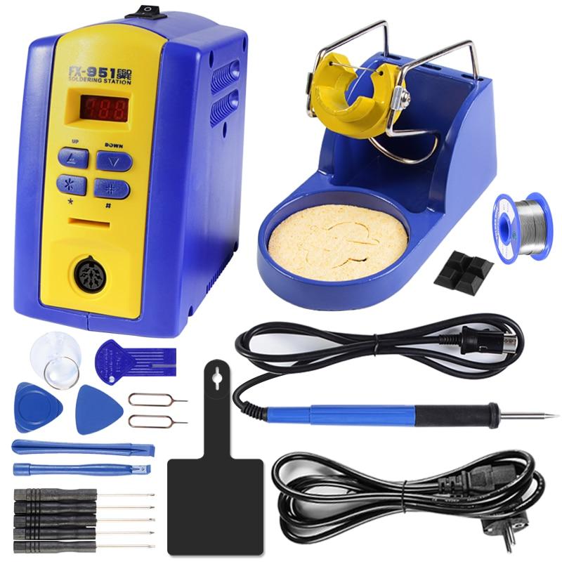 цена на Handskit FX-951 Soldering Station 220V 75W FX 951 Soldering Iron +T12 Tips +Soldering Tip Soldering Stand Welding Tools