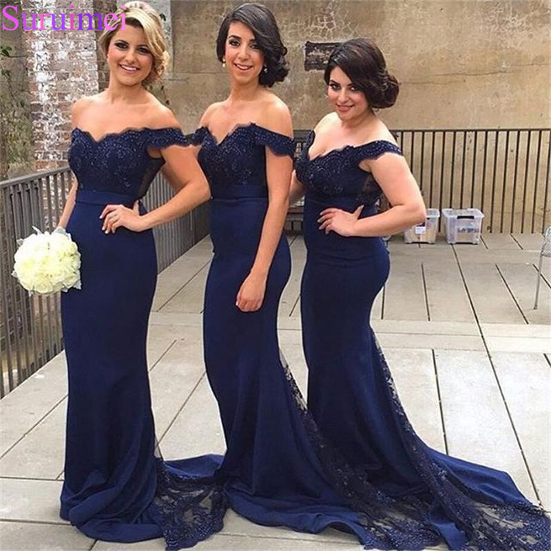 Hot New Arrival Navy Blue Mermaid   Bridesmaid     Dresses   2018 With Appliques Lace Off the Shoulder Cap Sleeves Brides Maid   Dress