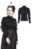 Darkinlove Women's Punk lacey knitted T shirt Black High Neck gothic party Tops tee