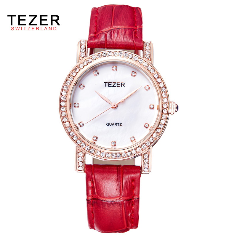 TEZER Ladies Fashion Quartz Watch Women Leather Casual Dress Watches Rose Gold Crystal Relojes Mujer Montre Femme AB2004 new geneva 2017 ladies fashion watches women dress watch quarzt relojes mujer pu leather casual watch relogio feminino apr19