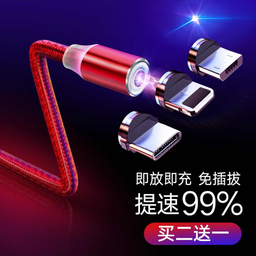 Kabel magnetyczny 1 m pleciony przenośna dioda LED typu C Micro USB kabel magnetyczny do ładowania dla Apple iPhone X 7 8 6 10 Xs max XR Samsung