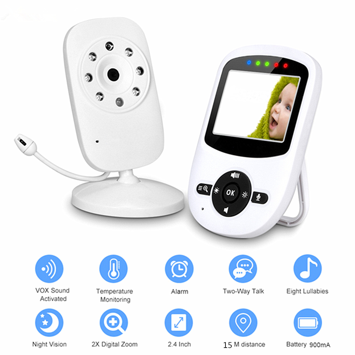 Wireless Video Baby Monitor High Resolution 2 Way Talk 2.4GHz Night Vision Security IR LED Camera Viewer Temperature Monitoring video monitor 2 0 inch wireless security camera 2 way talk night vision ir led temperature baby monitoring with music