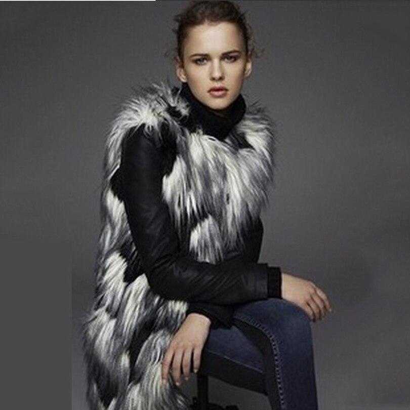 Moda Casual Faux Fur Chaleco Largo Caliente Noble Elegante 2017 Nuevo llegada Mujeres Peludo Delgado Falso de Alta Calidad Más El Tamaño del Abrigo De Pieles