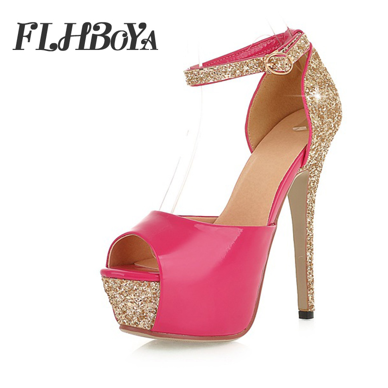 Summer Women Super High Heels Peep toe Wedding Pumps Gold Rose Red Thin Heel Platform Sandals Bride Night Club Party Bling Shoes цена