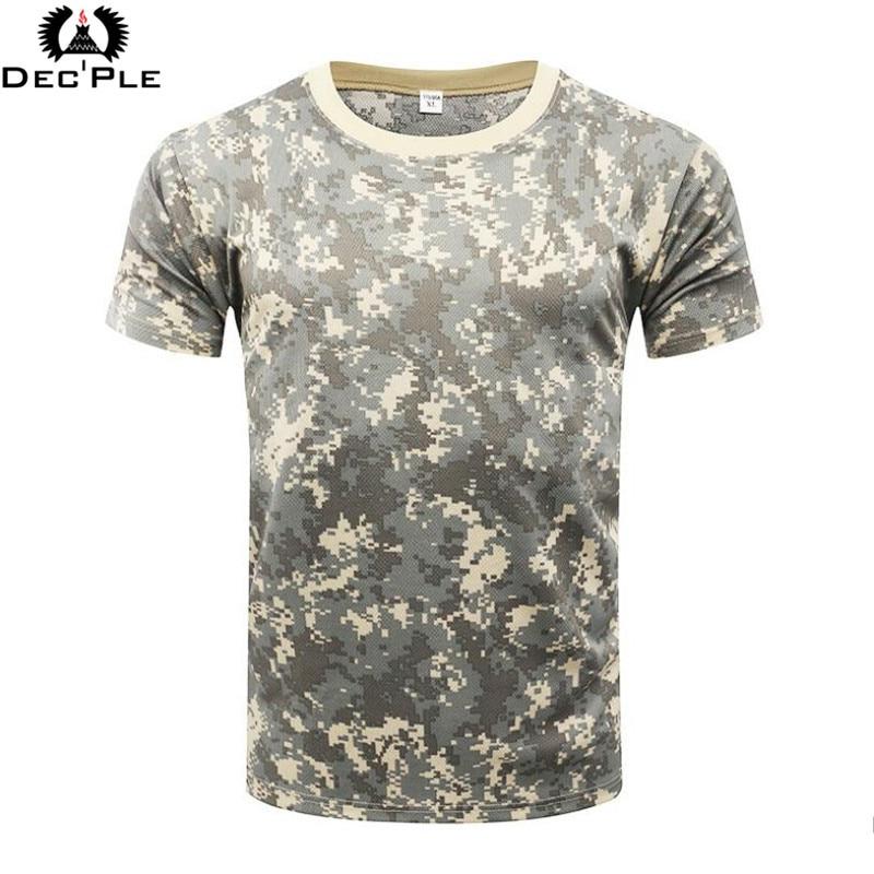 Camiseta de los hombres de camuflaje militar Táctico Ocasional Combate del O-cuello Camiseta de los hombres de manga corta de secado rápido Camo ropa Tee Tops