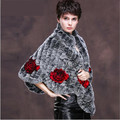 New Arrival Fashion Women's Real Rex Rabbit Fur Shawl Knitted Fur Pashmina with Floral Decoration Natural Fur Wrap