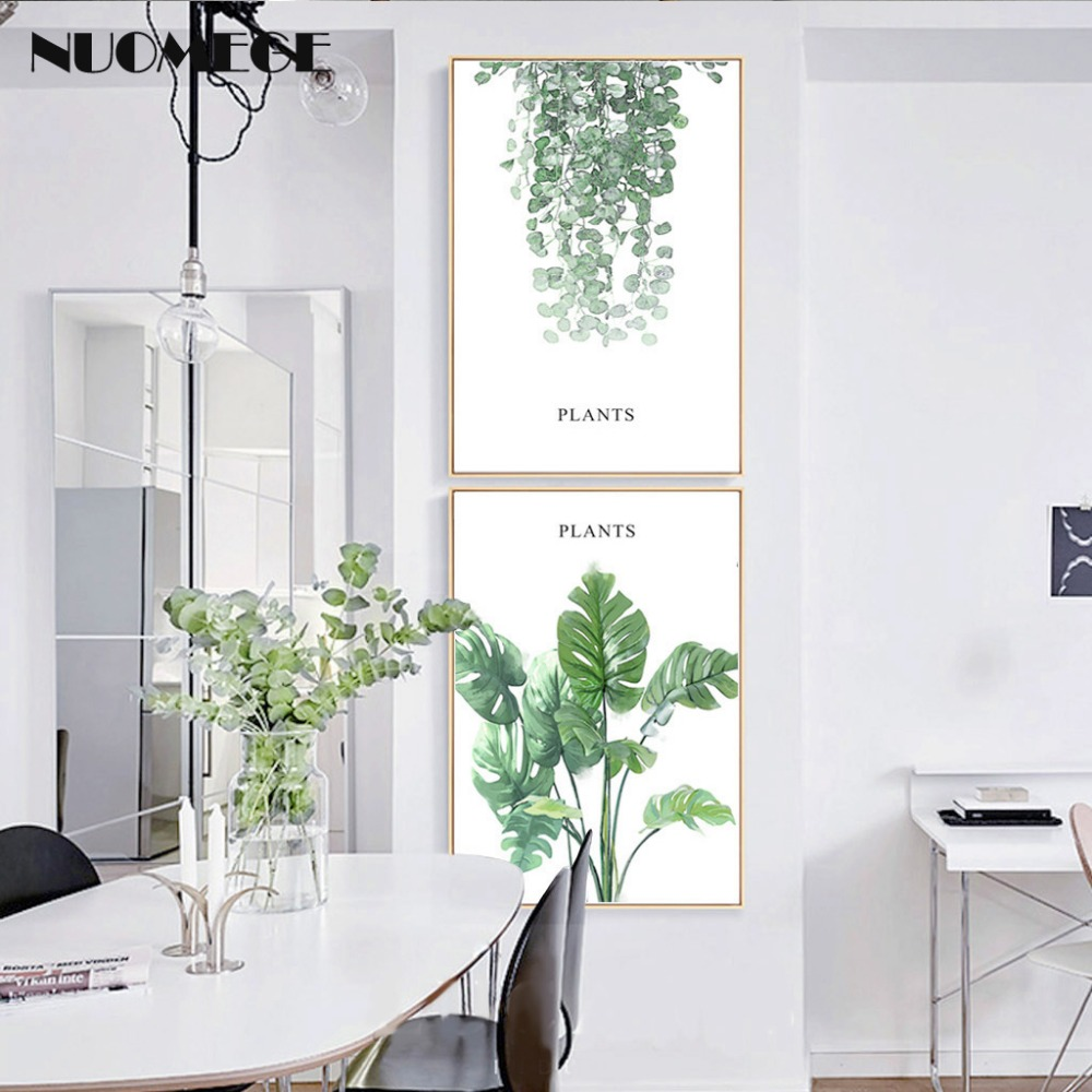 Modern Green Tropical Palm Plant Leaves Canvas Art Print Poster Fresh Monstera Nordic Wall Pictures for Dining Room Home Decor in Painting Calligraphy from Home Garden
