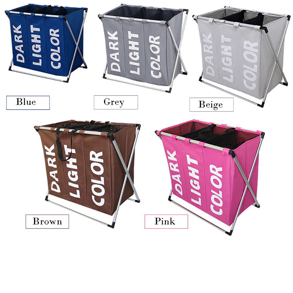 Folding Laundry Hamper Washing Storage Basket Bag 3 Section Foldable Fabric Laundry Baskets for Bathroom,Washing RoomFolding Laundry Hamper Washing Storage Basket Bag 3 Section Foldable Fabric Laundry Baskets for Bathroom,Washing Room