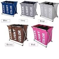 Folding Laundry Hamper Washing Storage Basket Bag 3 Section Foldable Fabric Laundry Baskets for Bathroom,Washing Room