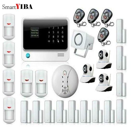 SmartYIBA WIFI Alarme Residencial Sem Fio GSM Alarm For Home Alarme Maison Allarme Casa APP Control IP Camera Smoke Alarm Kits