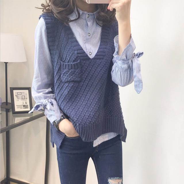 Koreanische Split gestrickte Weste Pullover Frauen Ärmellose V-ausschnitt lange vesten erfüllt mouwen dames Pullover Weibliche sueter mujer invierno