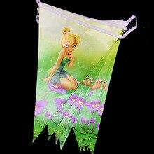 10 pçs/lote TinkerBell festa temática banners bandeiras do partido do chuveiro do bebê partido decorações do partido tema de Fadas TinkerBell decorarions