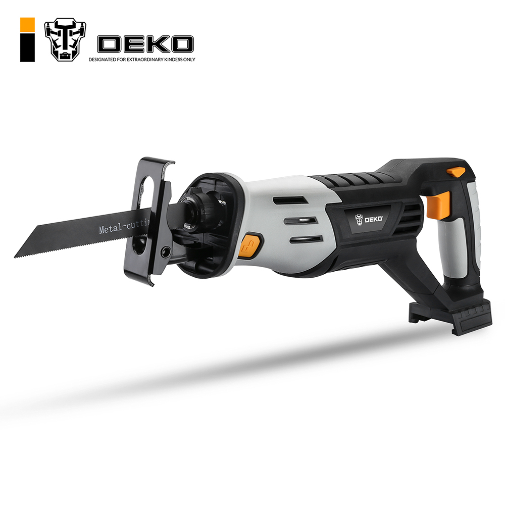 DEKO 20V Cordless Reciprocating Saw Adjustable Speed Electric Saw with Battery and 4 Pieces Blades