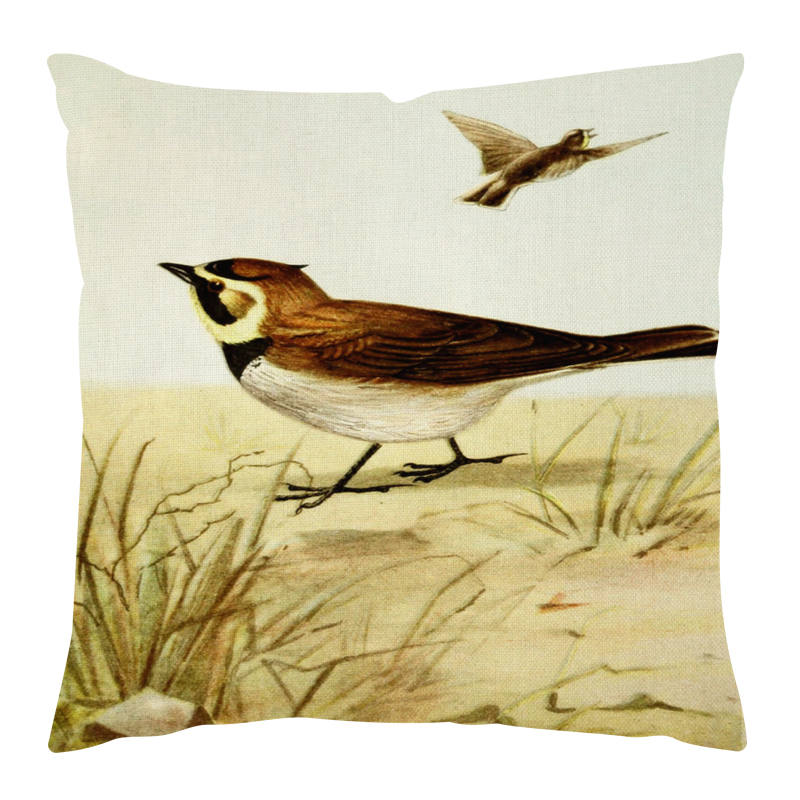 Europe American Bird illustrations Plain Printed Cushion Cover High End Pillowcase Square 45*45cm Bedroom Decor Cojines A5404
