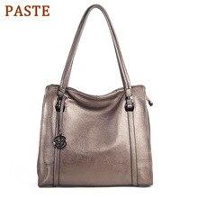 купить PASTE Women Shoulder Bag Handbags 100% Genuine Leather Fashion Female Crossbody Messenger Bags Soft Cow Leather Hobos Tote Purse по цене 3233.15 рублей
