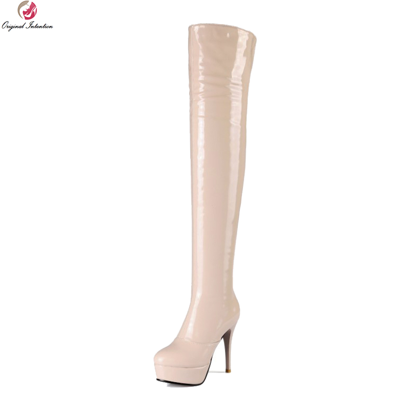 Original Intention Stylish Women Over-the-Knee Boots Round Toe Thin Heels Boots Black Red Nude Shoes Woman Plus US Size 3-13