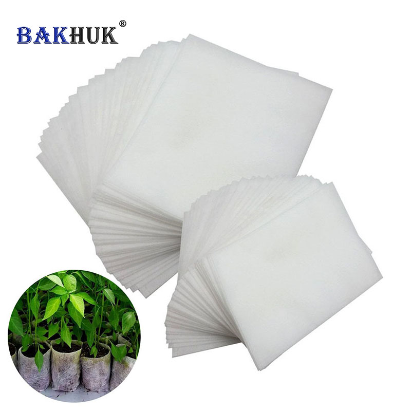 BAKHUK White Biodegradable Non-woven Nursery Bags with 100pcs Plastic Plant Tags Plant Grow Bags Plants Fabric Seedling Bags