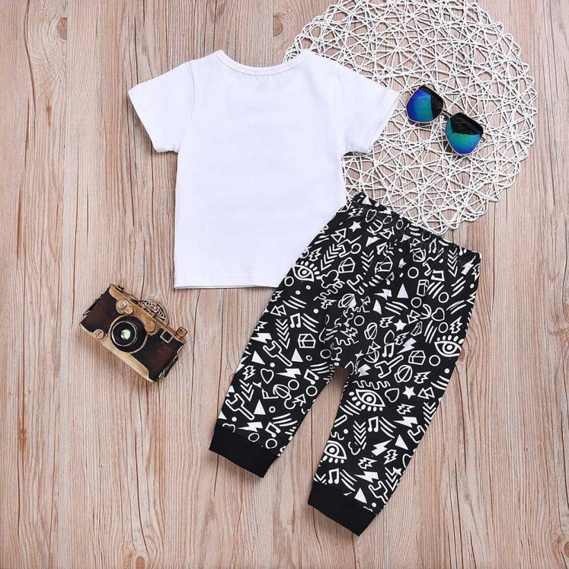 MUQGEW 2018 Cool Fashion Baby Boys Clothes Sets Kids Boy Skull Print Top Shirt + Pants Outfits Summer Set for Children