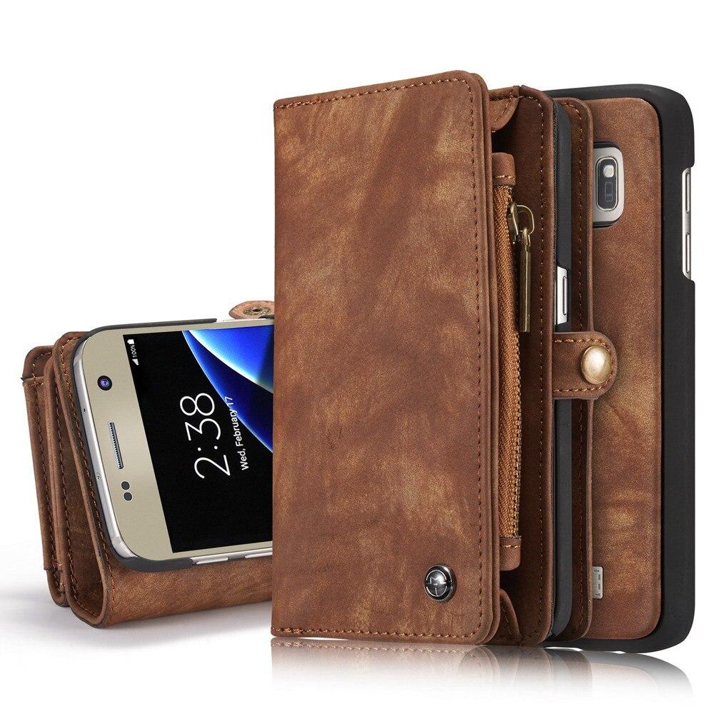 imágenes para Caseme Lujo Flip Funda de Cuero Para Samsung Galaxy S7 S7edge Ranuras para Tarjetas Monedero Imán Extraíble Teléfono Fundas Cubierta de Accesorios