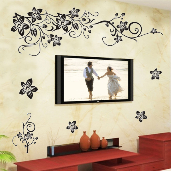 45x60cm new 2016 large vine flower wall decals vinyl art decoration stickers muraux living room. Black Bedroom Furniture Sets. Home Design Ideas