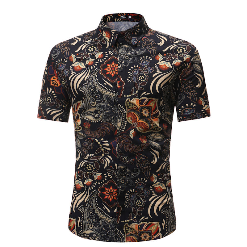 Devin Du Summer Style Palm Tree Print Beach Hawaiian Shirt Men Casual Short Sleeve