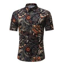 Мужская рубашка в летнем стиле с принтом пальмы, Пляжная гавайская рубашка, мужская повседневная гавайская рубашка с коротким рукавом, сорочка для мужчин, Азиатский Размер 3XL