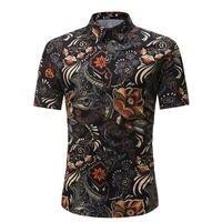 Для мужчин рубашка Летний стиль Palm Tree Print пляжная Мужская гавайская рубашка Повседневное короткий рукав гавайская рубашка Chemise Homme Азиатски...