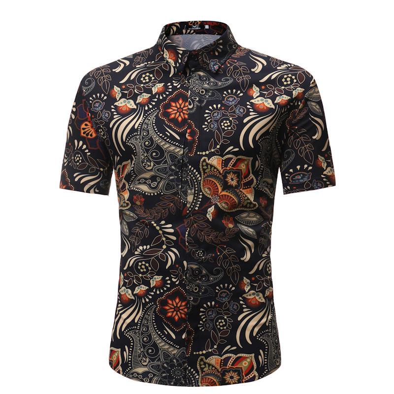 Men Shirt Summer Style Palm Tree Print Beach Hawaiian Shirt Men Casual Short Sleeve Hawaii Shirt Chemise Homme Asian Size 3Xl