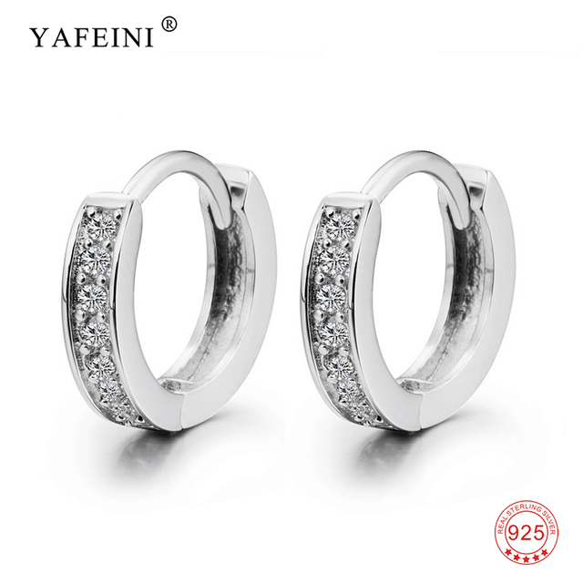 3f028566c 100% 925 Sterling Silver Small Hoop Earrings Tiny Sweet CZ Circle Round  Earring For Women Girl Gift Fine Jewelry