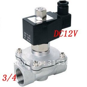 Free Shipping 5PCS/Lot 3/4'' 2 Way Normally Open Industrial Stainless Steel DC 12V Water Solenoid Valve VITON 5pcs lot free shipping ad579jn ad579ln ad579kn ad579 dip new 5cs lot ic