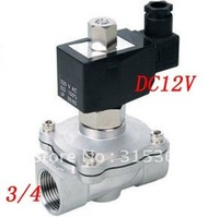 Free Shipping 5PCS/Lot 3/4'' 2 Way Normally Open Industrial Stainless Steel DC 12V Water Solenoid Valve VITON