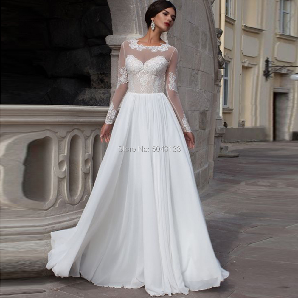 A Line Long Sleeves Wedding Dresses with Lace Appliques 2020 Ivory Chiffon Skirt Robe De Mariee Floor Length Corset Back Cheap