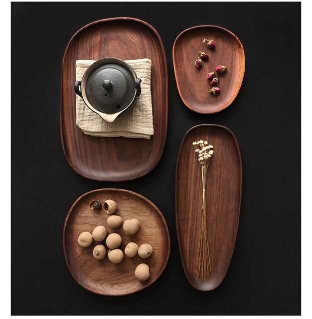 Whole Wood Black Walnut with Irregular Oval Wood Pan Plate Fruit Plate Saucer Tea Tray Dessert Plate 1