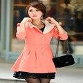 Moda Rendas Patchwork Trench Coat Vento Coats Outono das Mulheres Fino Médio-Longo Elegante Outerwear Casaco Casuais CO-089