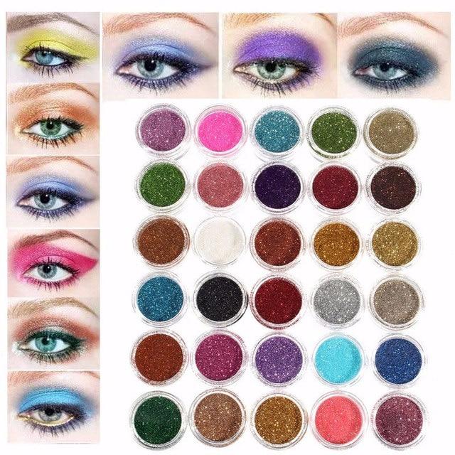 30pcs Mixed Colors Eyeshadow Powder Pigment Glitter Mineral Spangle Eyeshadow Makeup Cosmetic Set Long-lasting Random Color 1