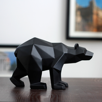 Black/white bear sculpture geometric resin bear statue home office decoration wild life gift art ornament accessories mx5081728